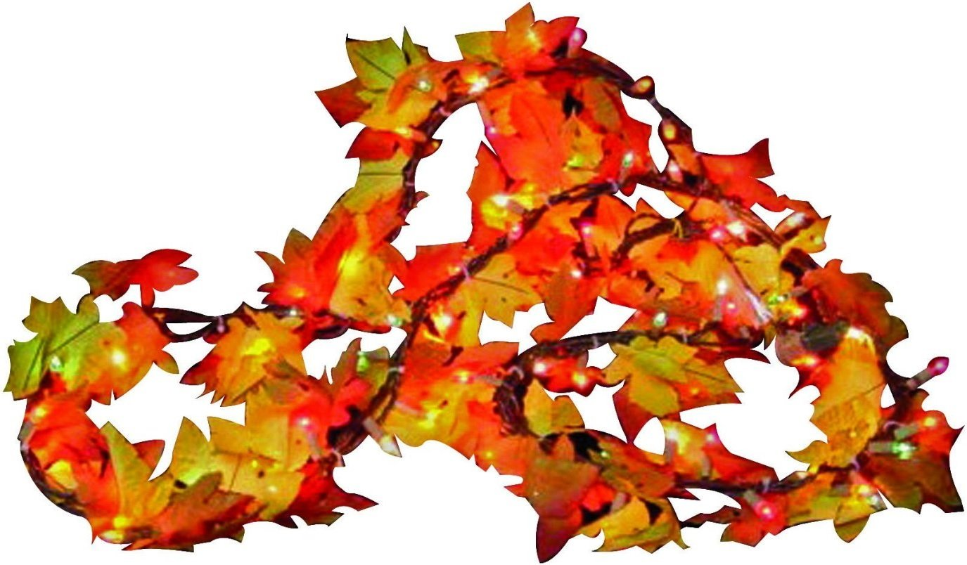Sylvania Fall Color Lighted Leaf Garland Clear 9 ft