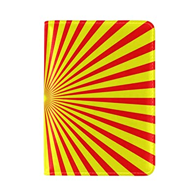 Radiating Yellow And Red Line Travel Passport Holder Passport Wallet Case