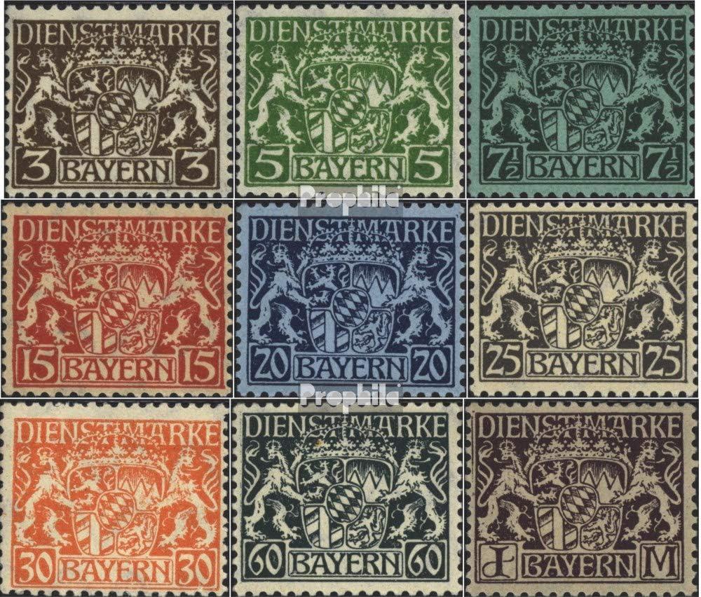 1916 Etat Emblem Timbres pour les collectionneurs compl/ète.Edition. Bavi/ère d16-d24