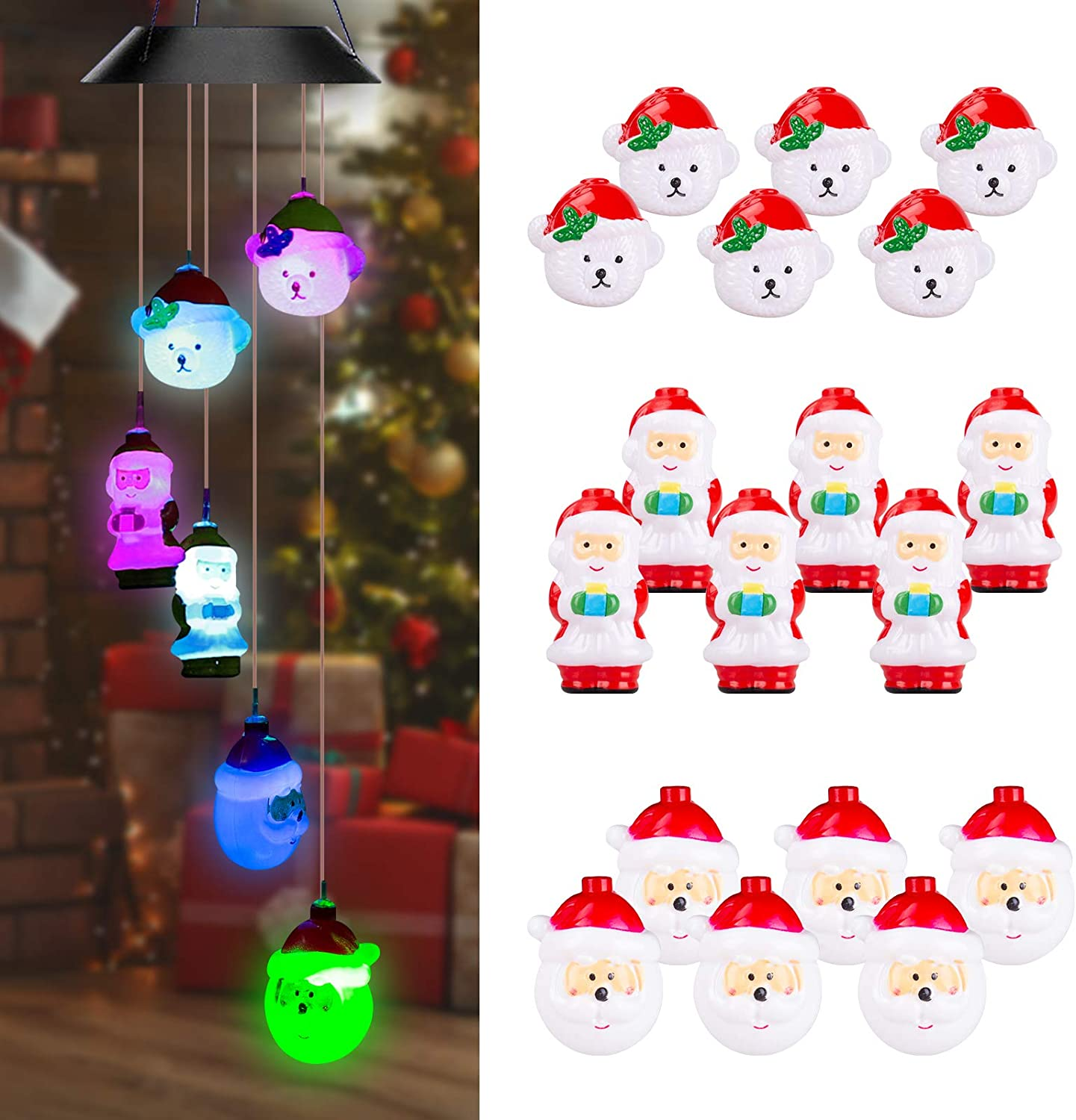 Christmas-Decorations-Outdoor-Lights, Solar Powered Christmas Tree Decor with 18 LED, Waterproof Solar Wind Chime Lights, Multicolor Christmas Lights Outdoor for Christmas, Gift, Holiday, Party