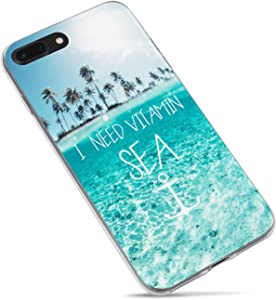 iPhone 5s Case,iPhone SE Case,Summer Tropical Beach Love Life Quotes I Need Vitamin Sea Palm Tree Blue Clean Ocean Aloha Summer Hawaii Clear Side Soft Case Compatible for iPhone 5s,SE