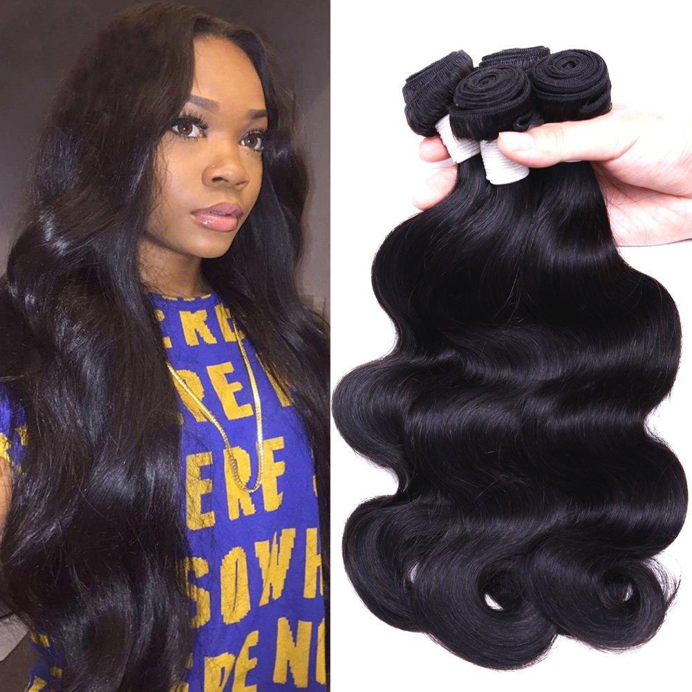 Flady Brazilian Virgin Hair Body Wave 7A Brazilian Hair Weaves 4 Bundles Virgin Human Hair Weaving Natural Black Color 95-100g/bundle (18 20 22 24inch)