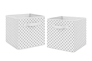 Sweet Jojo Designs Grey and White Polka Dot Foldable Fabric Storage Cube Bins Boxes Organizer Toys Kids Baby Childrens - Set of 2 - for The Watercolor Floral and Sailor Collections