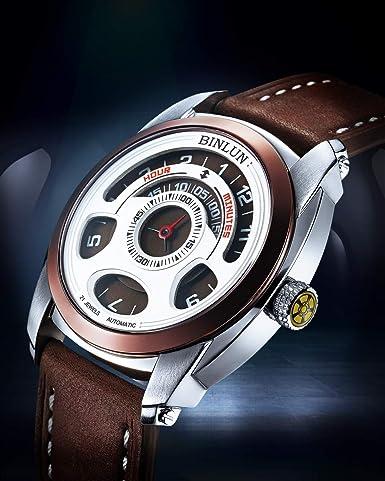 BINLUN Men s Automatic Mechanical Unique Cool Wrist Watch Water Resistant Leather Straps Black