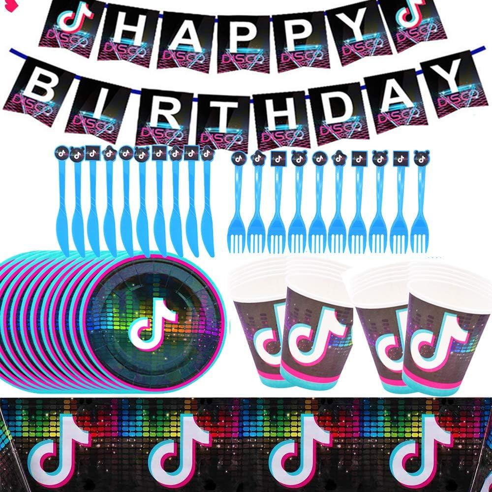 BAIBEI TIK Tok - Juego de vajilla para fiestas, vajillas para fiestas de cumpleaños, decoración para celebraciones y suministros para fiestas para 10 invitados