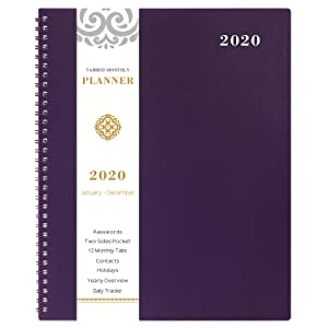 """2020 Monthly Calendar Planner - 12-Month Planner with Tabs & Pocket & Label, Contacts and Passwords, 8.5"""" x 11"""", Thick Paper, January - December 2020, Twin-Wire Binding - Purple by Artfan"""
