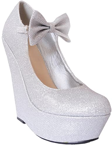 d54ec5a7e06a0 Style Sketch Book Ladies Silver Sparkly Metallic High Heels Wedges Glitter  Wedged Bow Detail Shoes Platforms