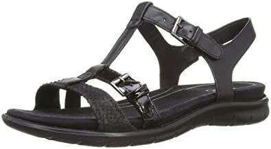 a70f5638ed76 Ecco Babett Womens Buckle Leather Sandals 9   43 Black Snake  Amazon ...
