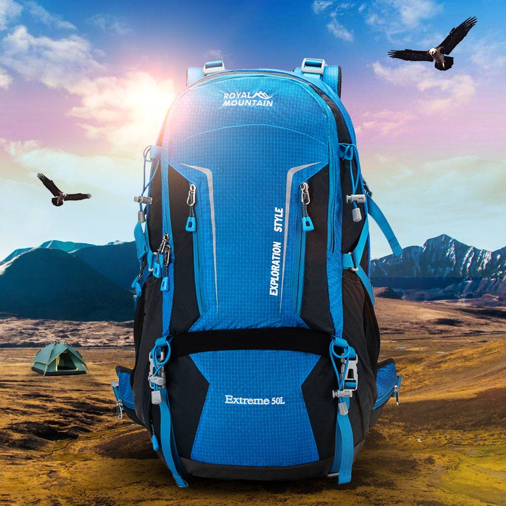 ROYAL MOUNTAIN Hiking Backpack Waterproof Outdoor Sport Daypack Internal Frame Backpacks with Rain Cover 50L