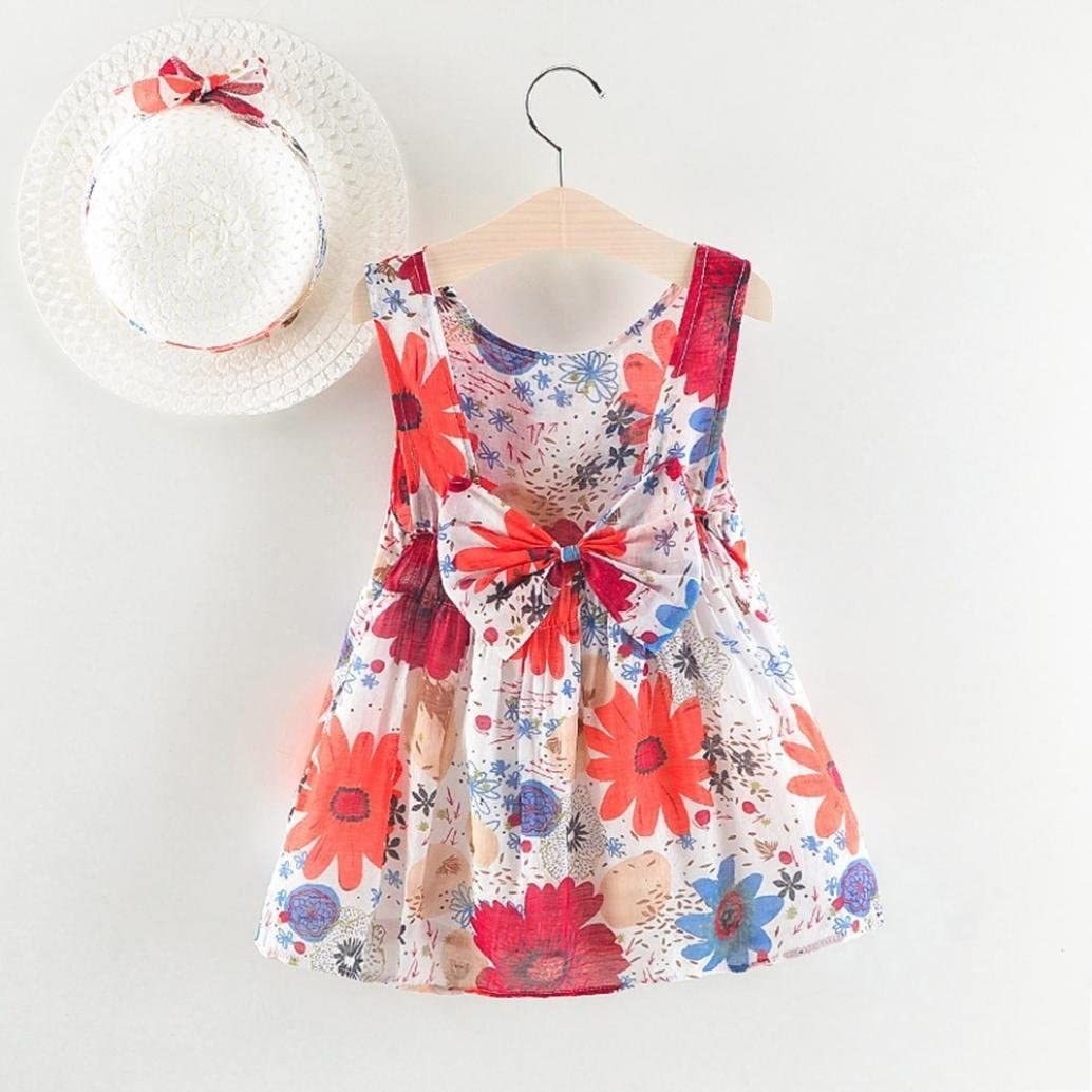 vermers Newborn Dresses Baby Girls Floral Print Bowknot Backless Princess Dress Casual Clothes