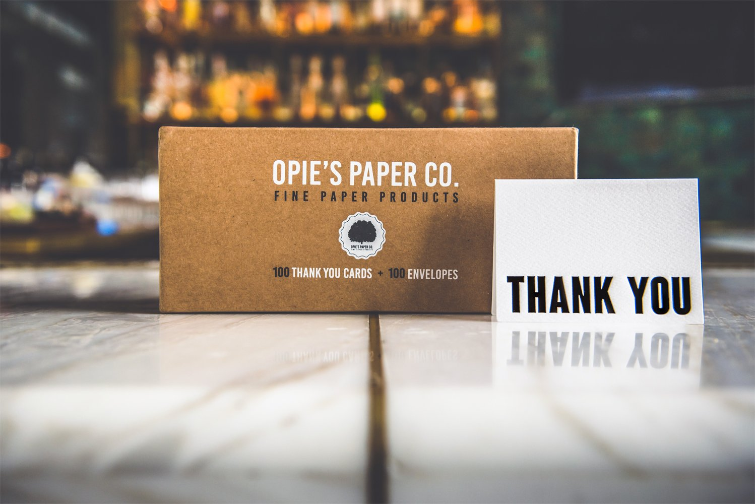 100 Letterpress Thank You Cards and Self Seal Envelopes. Perfect for Graduation, Business, Weddings - Opie's Paper Company (Black & White) by Opie's Paper Co.