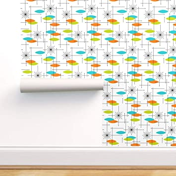 Removable Water-Activated Wallpaper Atomic Inspired Mid-Century Modern Retro