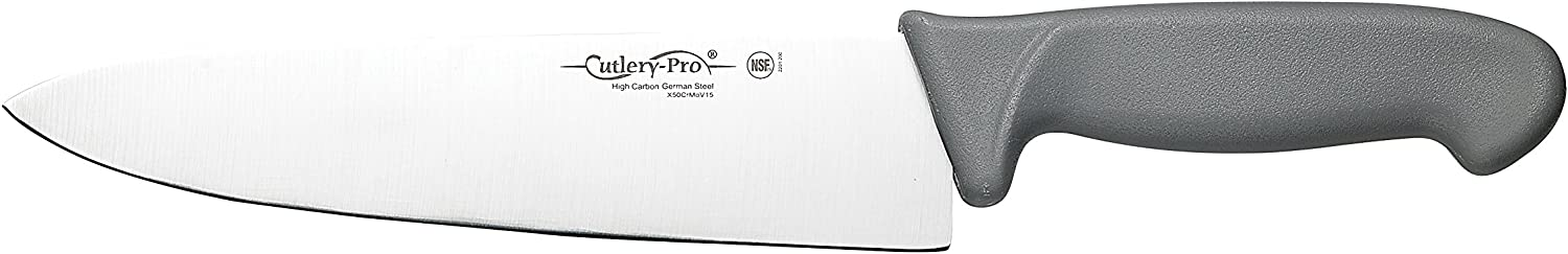 Cutlery-Pro Gourmet Chef's Knife, Professional Quality, NSF Approved, German Carbon Steel (X50CrMov15), 8-Inch Blade
