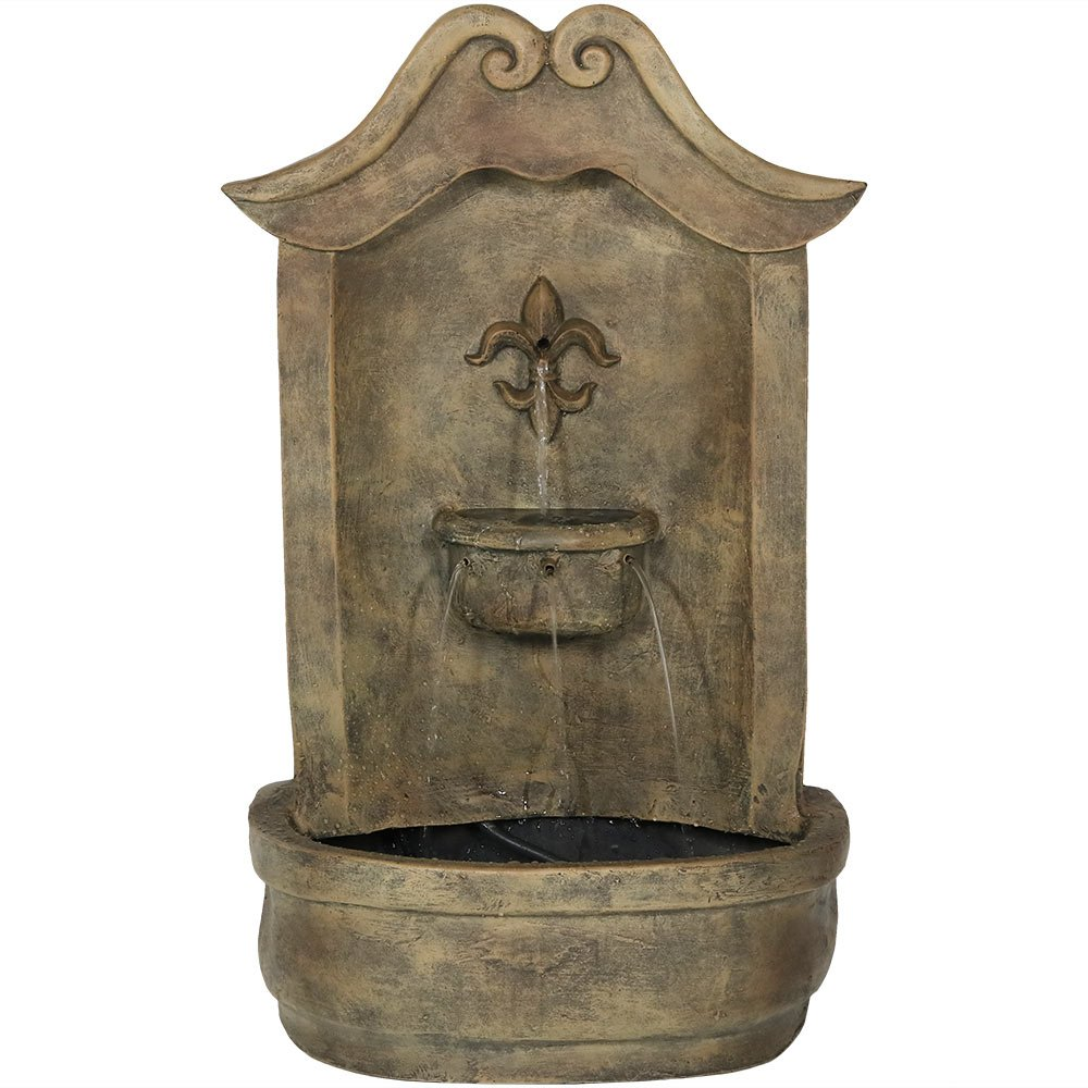 Sunnydaze Flower of France Outdoor Wall Water Fountain, with Electric Submersible Pump, 29 Inch, Florentine Stone Finish by Sunnydaze Decor