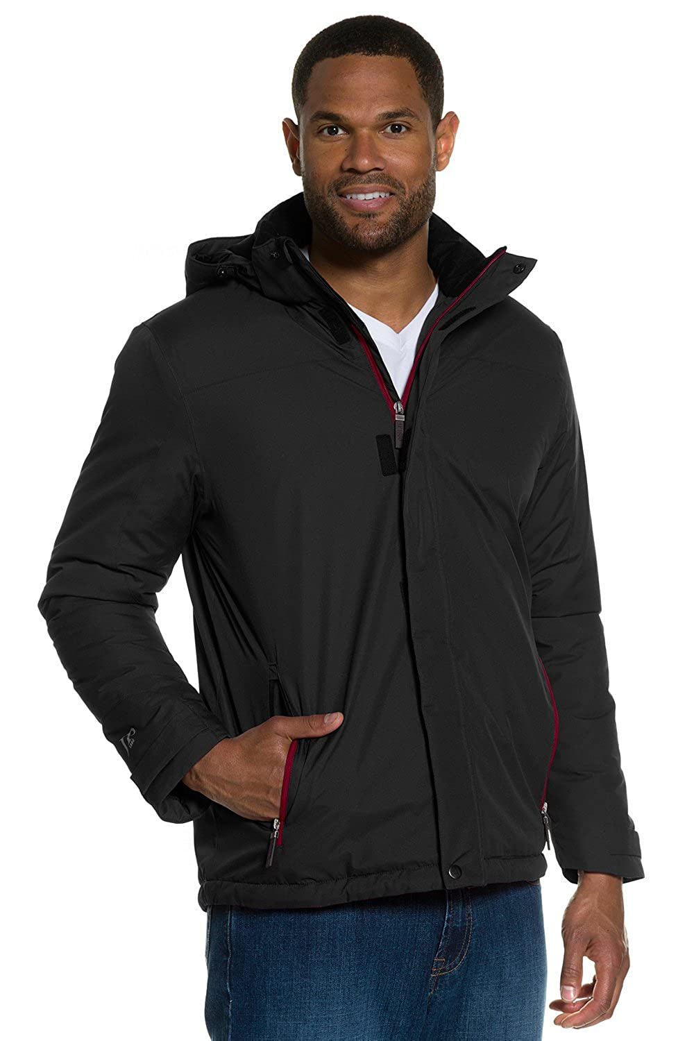 JP1880 Men's Big & Tall Wind & Waterproof Jacket Black X-Large 705645 10-XL