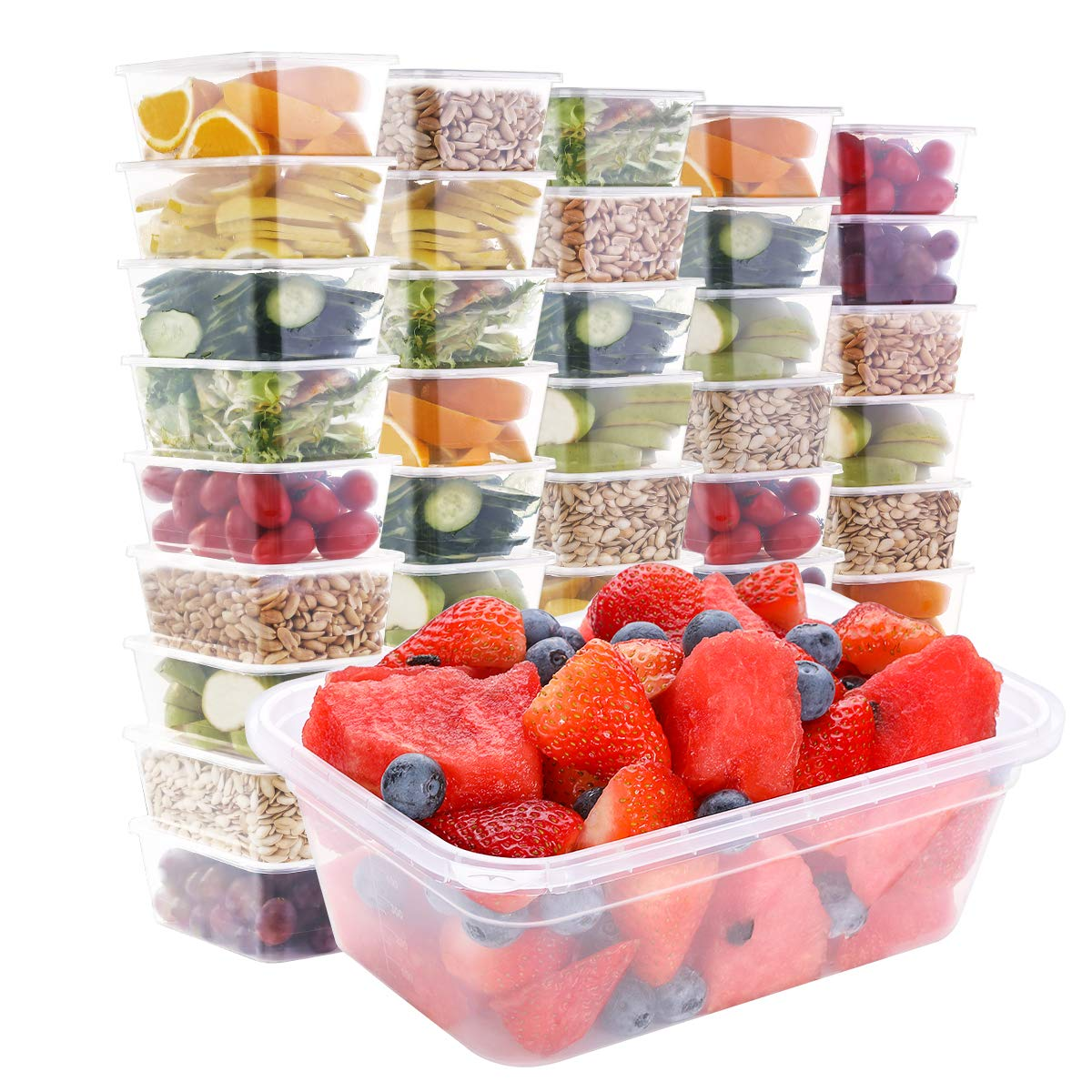 50pk,25oz Food Storage Containers with Lids Food Containers Meal Prep