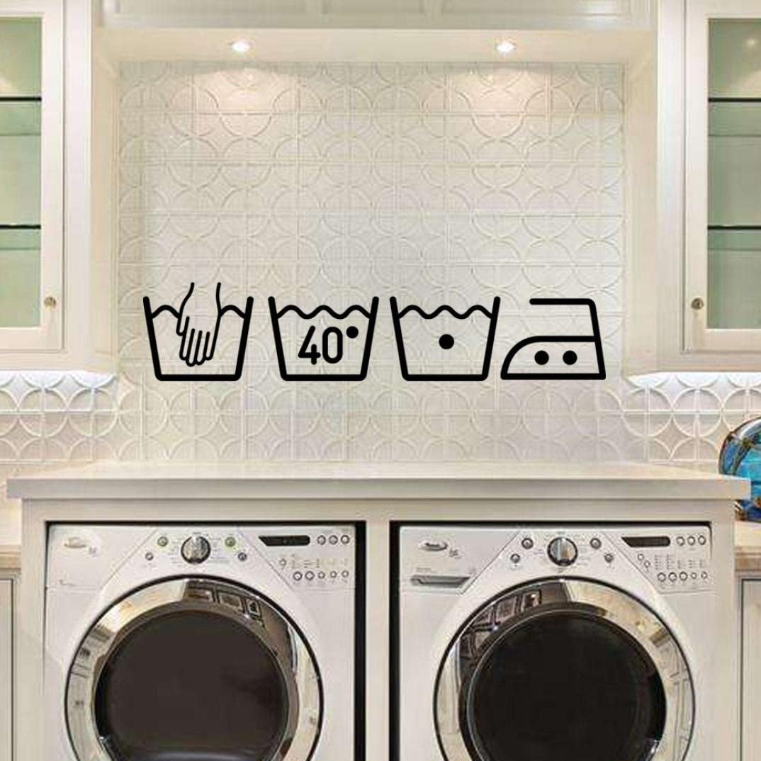 Cinnamou Etiqueta engomada de la pared de signo de lavadora Art ...