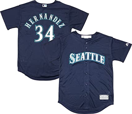 3a702cada Outerstuff Felix Hernandez Seattle Mariners Navy Blue Youth Cool Base  Alternate Replica Jersey (Small 8
