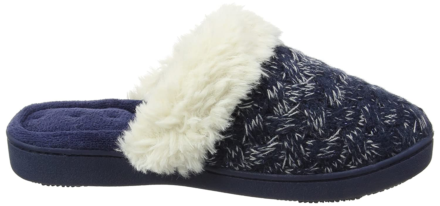 Isotoner Damen Cable Knit SP/Kle Mule Slippers Pantoffeln, Blau (Navy and Cream), 40 EU (7 UK)