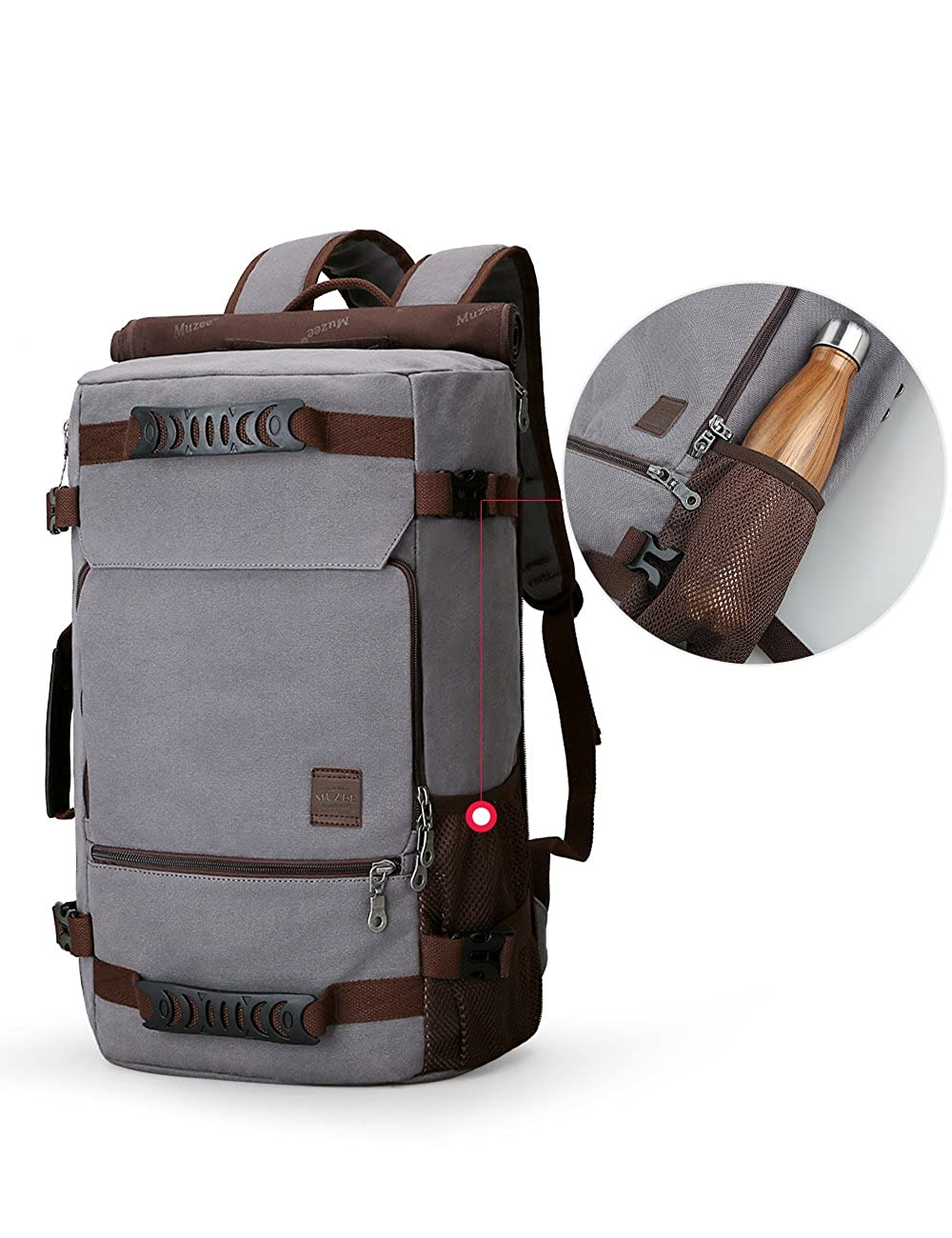a1ac7fb5fb76 Muzee New Backpack Men Canvas Backpack Large Capacity Bag for Travel  Backpack 15.6inch Laptop Backpack  Amazon.co.uk  Clothing