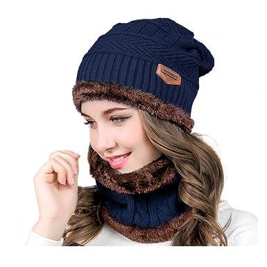 e5b392adafed HighCool Bonnet d hiver Femme,Chauffant Bonnet Tricot avec Écharpe de  Doublure Polaire, Hiver Chapeau Beanie pour Femme,Chaud Écharpe Chapeau  Tricoté ...