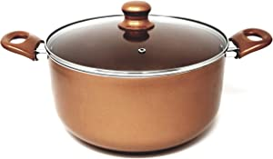 Better Chef, D804, 8-Quart Copper Colored Ceramic Coated Dutch Oven with Tempered Glass Lid