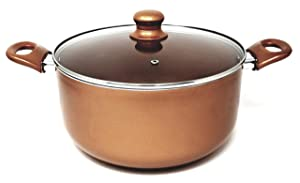 Better Chef, D604, 6-Quart Copper Colored Ceramic Coated Dutch Oven with Tempered Glass Lid, Dishwasher Safe