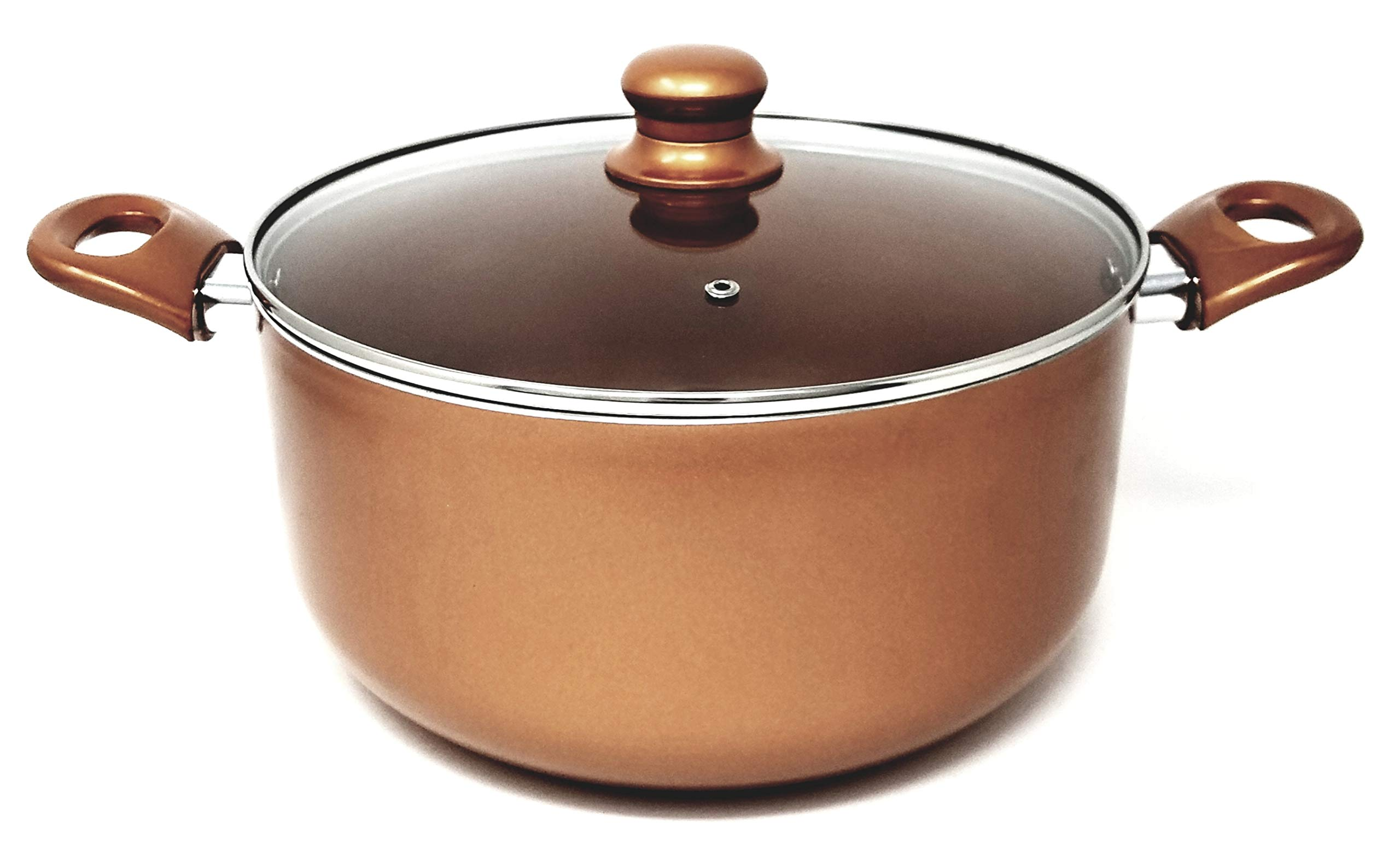 Better Chef, D404, 4-Quart Copper Colored Ceramic Coated Dutch Oven with Tempered Glass Lid