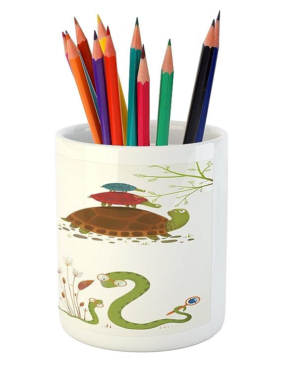 Amazon.com: Reptil lápiz titular de la pluma por Ambesonne ...