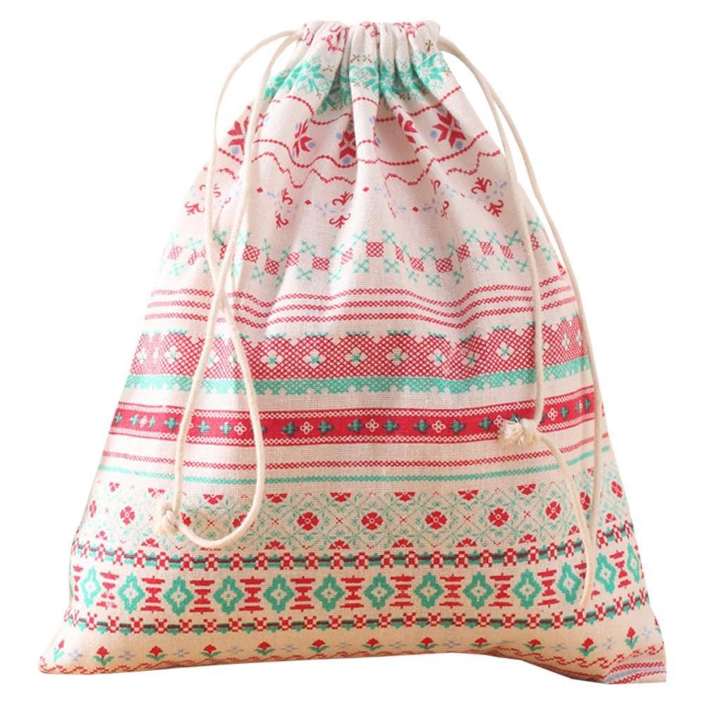Doinshop Ladies Womens Boho Style Retro Printing Drawstring Bag