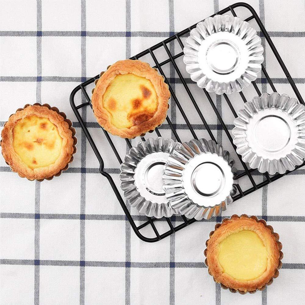 Amasawa 50 Piezas Set Molde de Tartaleta de Huevo Tazas de Huevo para Hornear Tarta Mollete Magdalena Material Aluminio DIY Herramienta Cocina