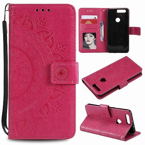 Laybomo Huawei Honor 8 Carcasa Bolsa Tapa Cuero Billetera ...