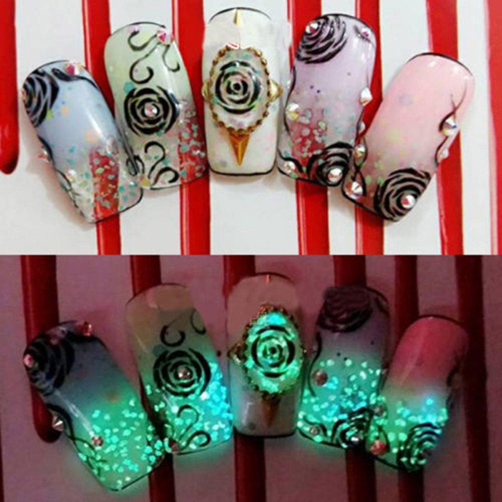 More Care 10 Farben Nagel Fluoreszenz Pulver Glow In Dark Nail Art ...