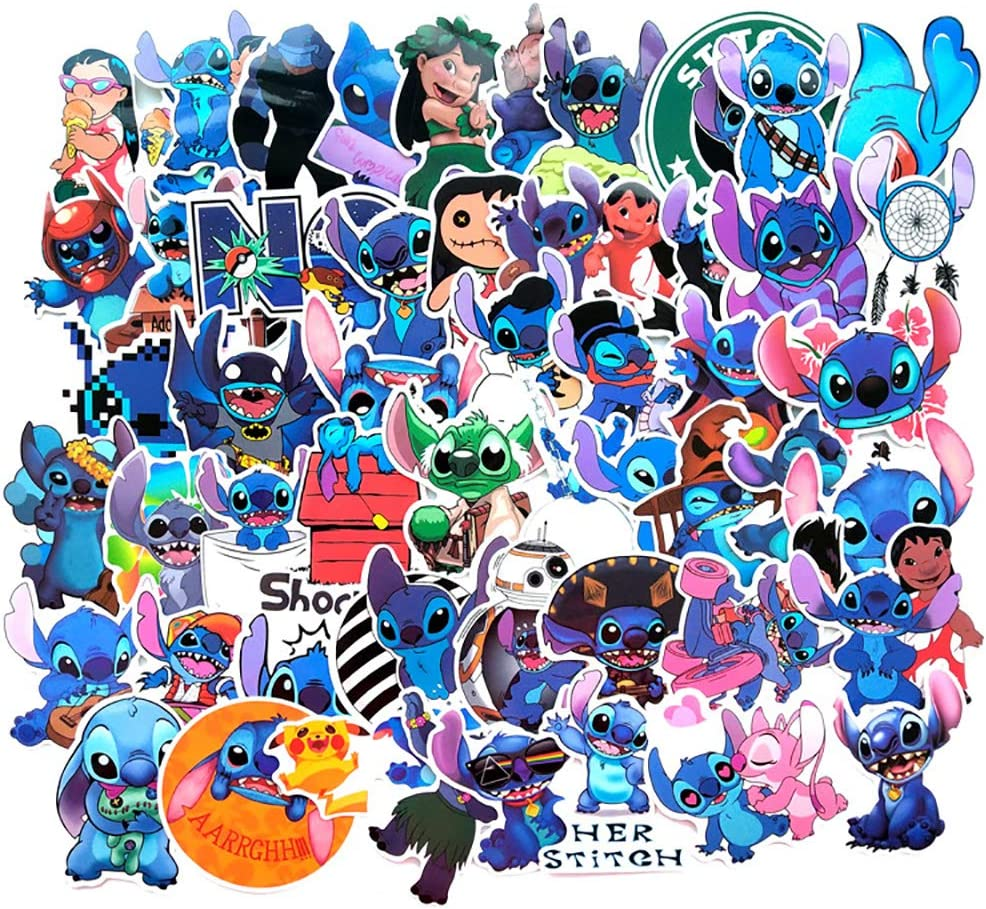 50 Pcs Cute Anime Aesthetic Stickers Pack for Lilo & Stitch, Cartoon Stickers for Kids Boys Girls Teens,Waterproof Vinyl Stickers Decals for Laptop Waterbottle Flasks MacBook Computer Phone Luggage.