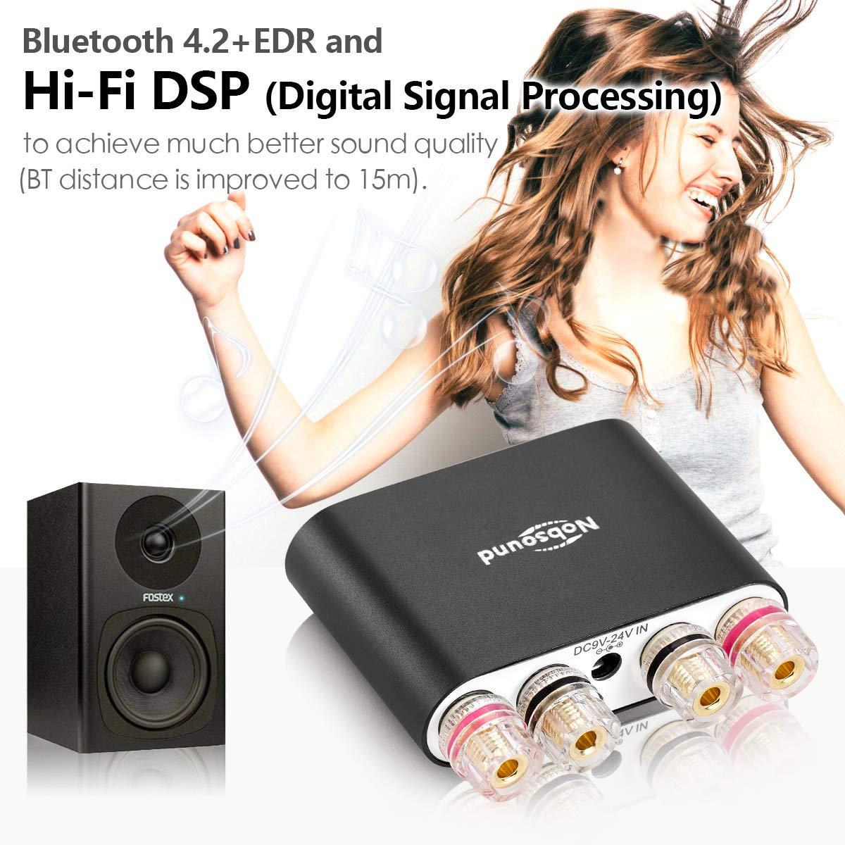 50/W X 2 nobsound NS de 10g Pro Hi-Fi DSP 100/W Digital Bluetooth 4.2/Audio Amplifier 2.0/Channel Stereo Power Amp for Home Speakers Upgrade Versi/ón Mini Digital Amplificador