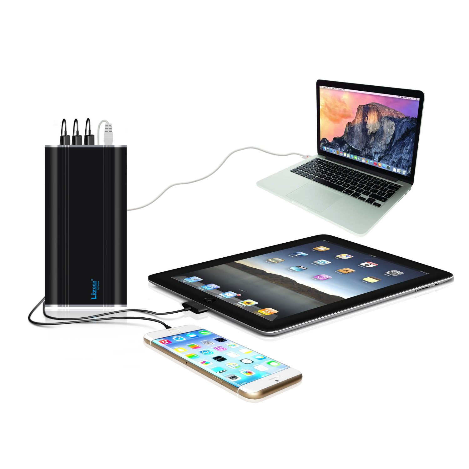 Lizone 35KmAh QC Portable Charger External Battery Power Bank for Apple Macbook Pro Macbook Air, USB Ports Quick Charge for iPad iPhone 7 6 6S Plus and more Tablets or Smartphones. by Lizone (Image #4)