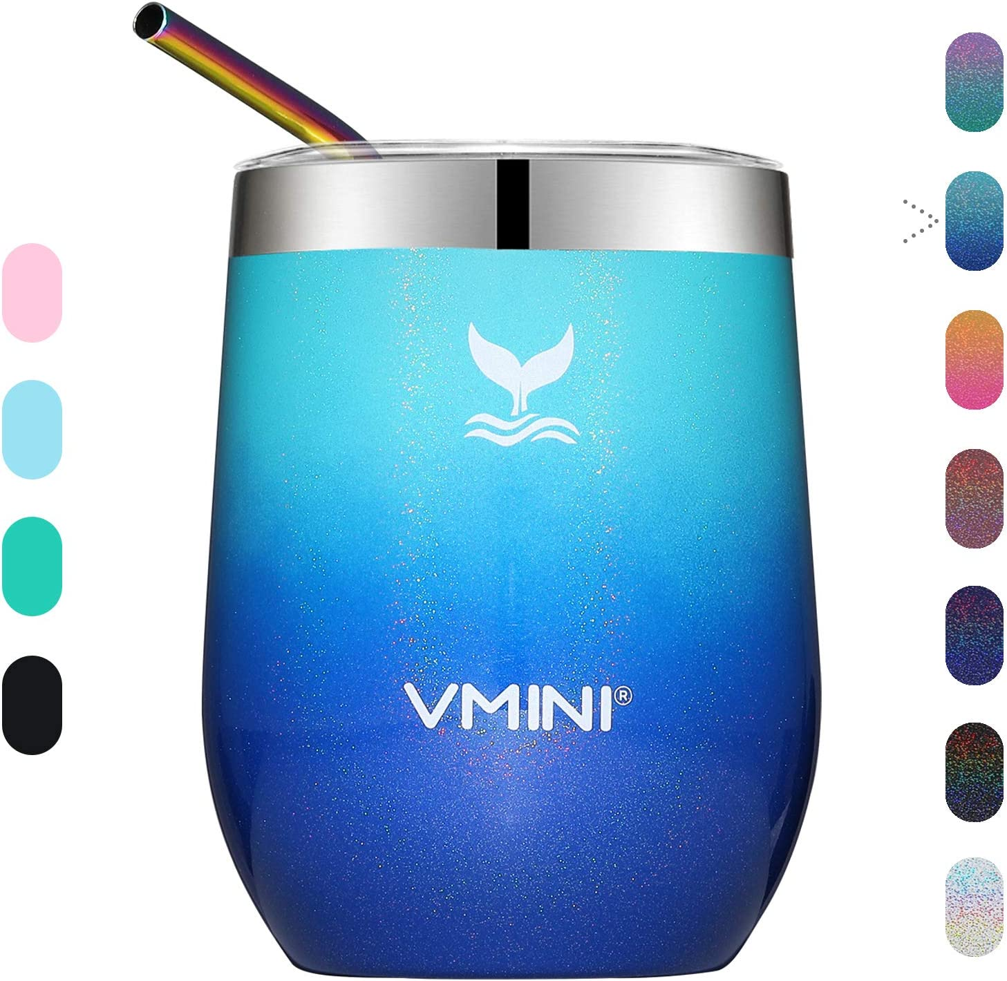 Vmini Wine Tumbler with Lid - Wine Glass, Travel Mug, Stemless Coffee Cup, Vacuum Insulated Stainless Steel, 12 oz Drinkware for Champagne/Whiskey/Cocktail/Beer (Glitter Mint+Blue)