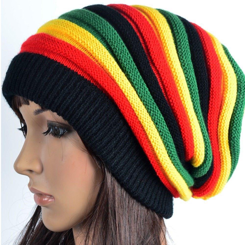 46c327240 HZYFP Multi-Colour Jamaican Rasta Hat Slouchy Baggie Beanie Knit Gorro  Reggae Cap