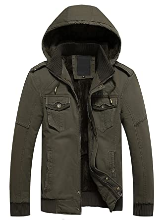 Lega Men's Winter Fleece Hooded Jacket Front Zip Coat at Amazon ...