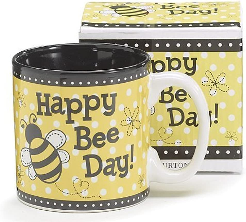 """Happy Bee Day"" Honey Bumble Bee Coffee Mug Adorable Gift"