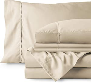 Bare Home 4 Piece 1800 Deep Pocket Bed Sheet Set - Twin Extra Long - Ultra-Soft Hypoallergenic - 2 Pillowcases (Twin XL, Sand)