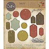 Sizzix 662423 Fustelle Thinlits Set 12 Pezzi-Etichette Regalo di Tim Holtz, Acciaio, Multicolore, 19.1x14.4x0.4 cm