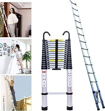 Escalera de aluminio para ático con gancho desmontable de 6,2 m de extensión portátil para techos, negocios, decoración de tareas domésticas y tareas domésticas EN131: Amazon.es: Bricolaje y herramientas