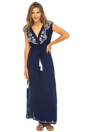 995ba623620c Back From Bali Womens Long Maxi Dress Boho Embroidered Sleeveless Summer  Sundress Deep V Neck Navy