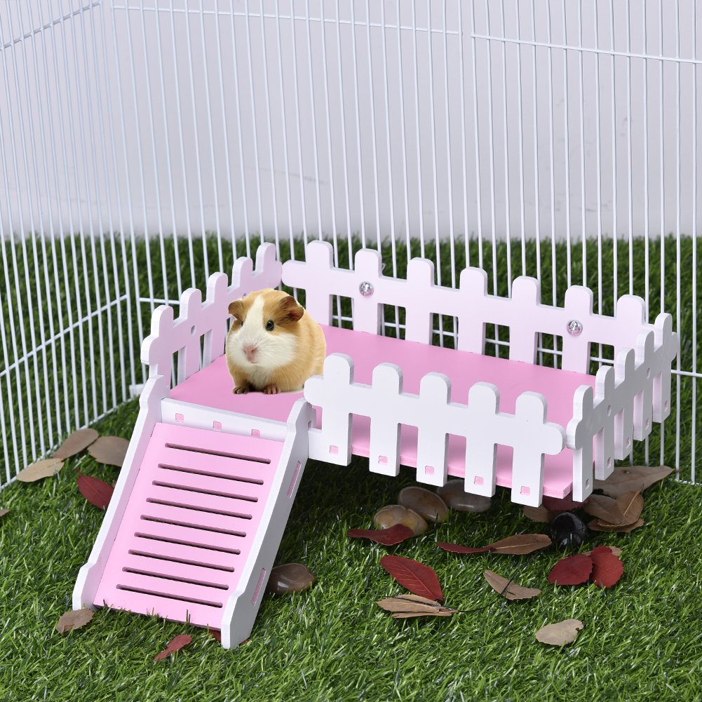 Yunt Pet Toy Platform Cute Climbing Kits Hamster Crawling Ladder Swing Platform Toys for Hamster Hedgehogs Totoro Squirrel Pink by Yunt (Image #8)