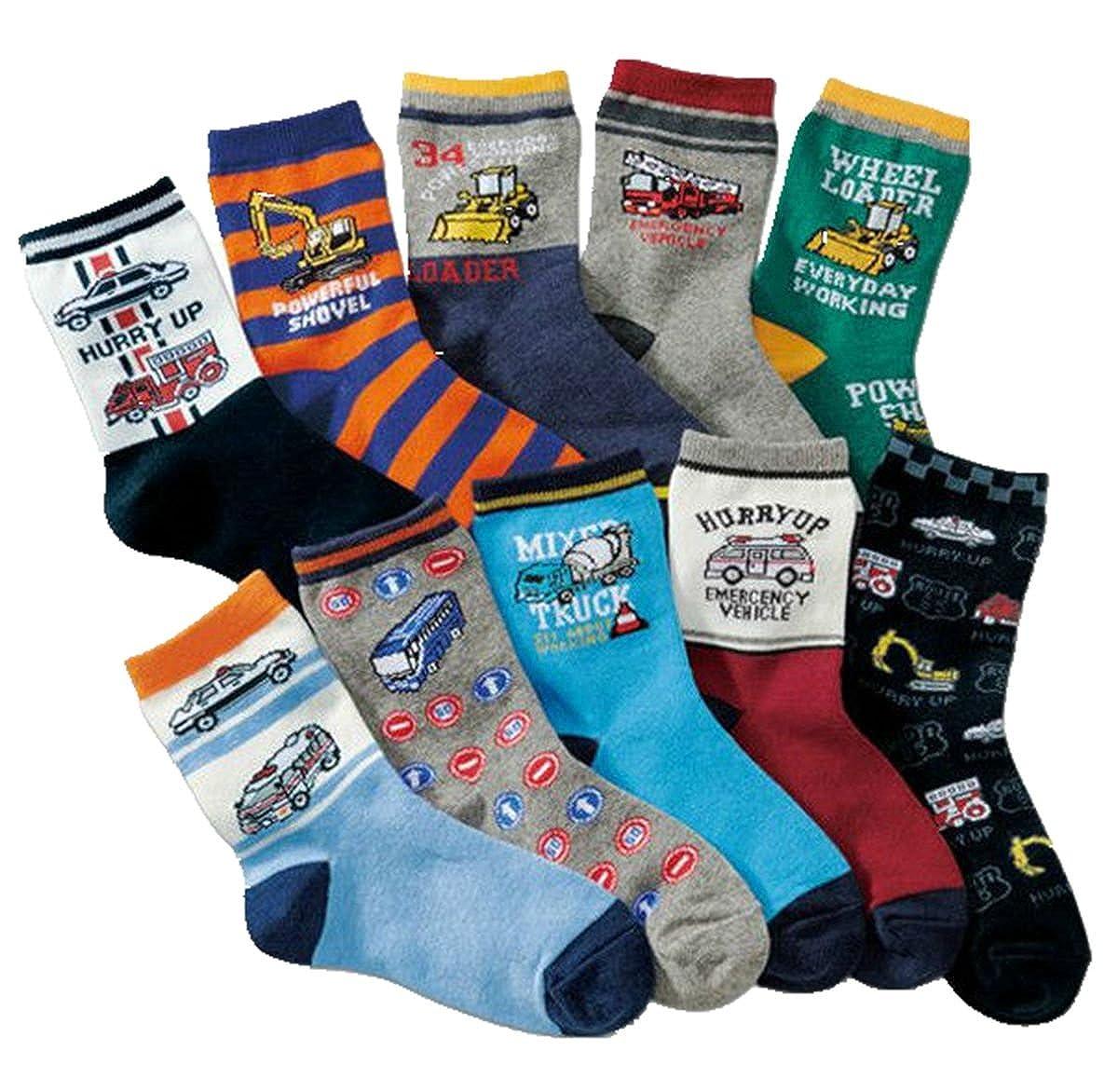 Boys Short Socks Fashion Cartoon Vehicle Cotton Basic Crew Kids Socks 10 Pair Pack
