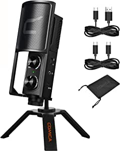 Comica STM-USB Versatile Metal Condenser Cardioid/Bi Directional Microphone for USB C Smartphone Computer Studio Recording Microphone for Live-Streaming, Podcaster,Gaming, Studio Vocal, Online Course
