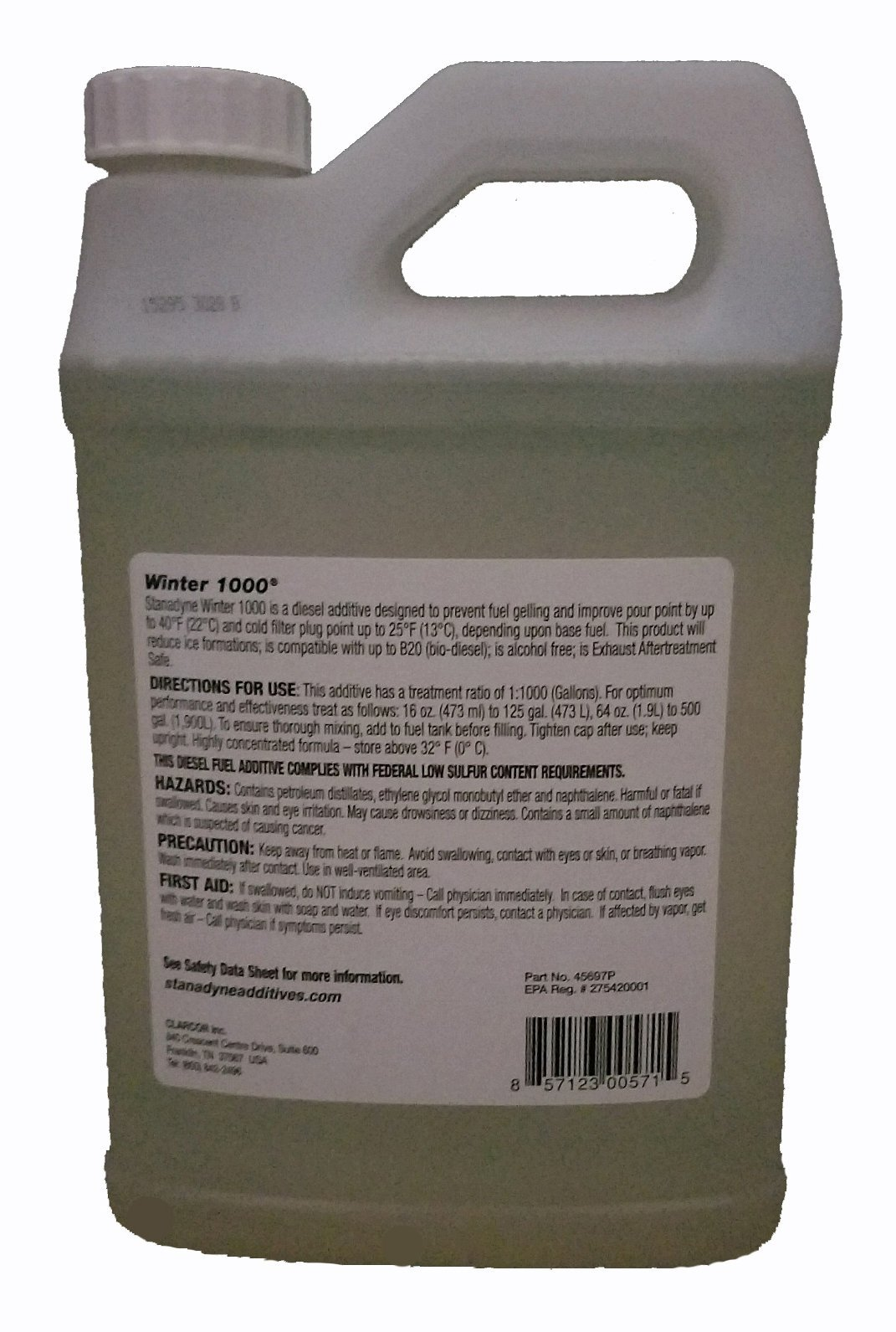 Stanadyne Winter 1000 | Case of 6 - 1/2 Gallon Jugs | Treats 3000 Gal of diesel fuel | Part # 45697 by Stanadyne Winter 1000