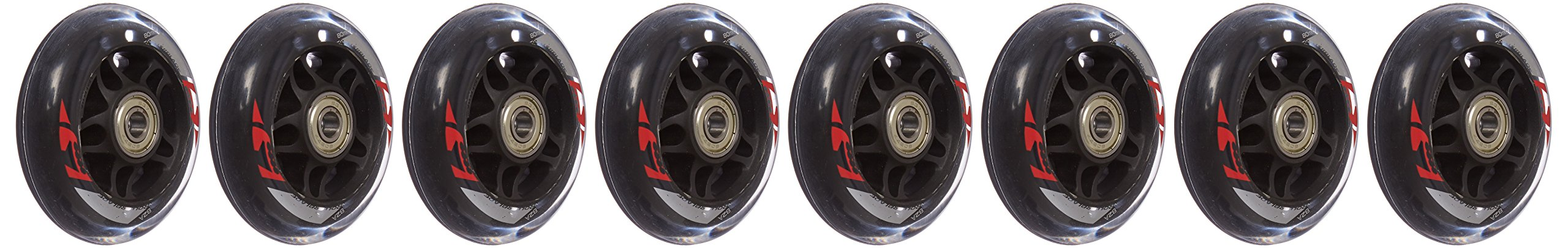 Rollerblade ABEC 7 Skate Bearings Complete Wheel Kit, 80mm/82A, Clear by Rollerblade