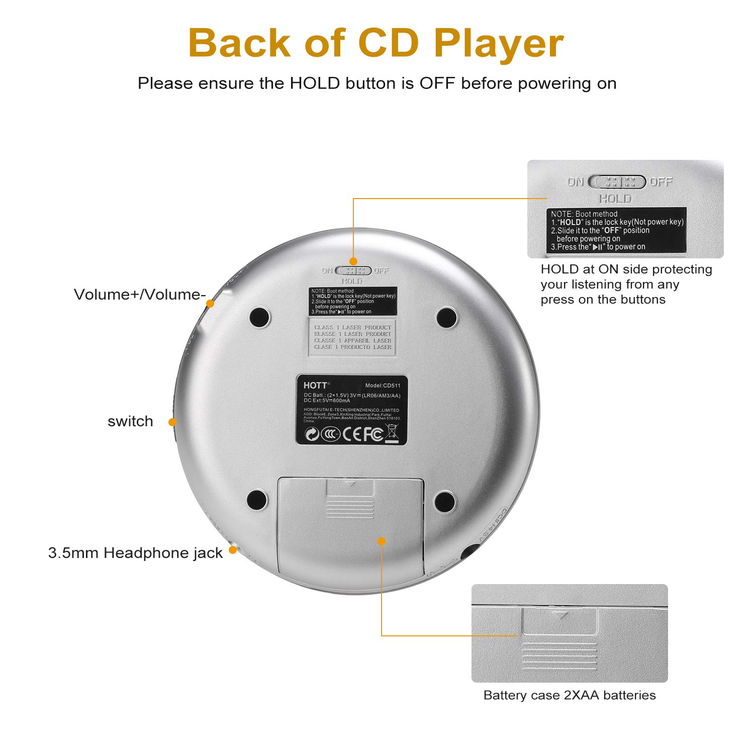 Portable CD Player, HOTT Personal Compact Disc Music Player with Headphones and USB Cable, Small Walkman with Anti-Skip/Anti-Shock and LED Display (Silver)